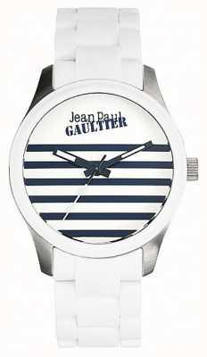 Jean Paul Gaultier Enfants terribles witte rubber stalen armband witte wijzerplaat JP8501120