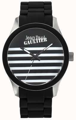 Jean Paul Gaultier Enfants terribles zwarte rubberen stalen armband zwarte wijzerplaat JP8501121