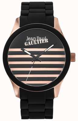 Jean Paul Gaultier Enfants terribles zwarte rubberen stalen armband zwarte wijzerplaat JP8501122