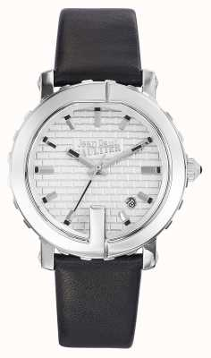 Jean Paul Gaultier (geen doos) dames punt g zwarte lederen band zilveren wijzerplaat JP8500515