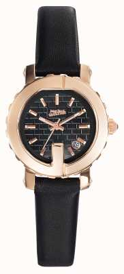 Jean Paul Gaultier Womens point g - mini zwarte lederen band zwarte wijzerplaat JP8503502
