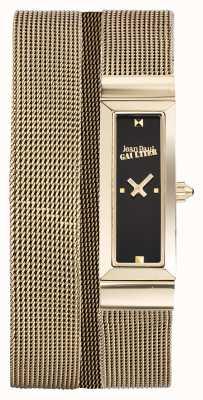 Jean Paul Gaultier Womens cote de maille goud pvd mesh armband zwarte wijzerplaat JP8503903