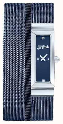 Jean Paul Gaultier Dames cote de maille blue pvd mesh armband blauwe wijzerplaat JP8503904