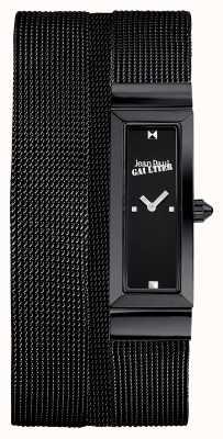 Jean Paul Gaultier Womens cote de maille zwarte pvd mesh armband zwarte wijzerplaat JP8503905