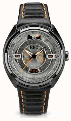 REC Porsche automatische zwarte lederen band grijze wijzerplaat p-901-03
