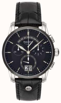 Bruno Sohnle Grandioso 42.5mm zwart lederen horloge 17-73117-741