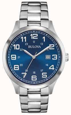 Bulova Herenhorloge blauw wijzerplaat roestvrij stalen armband 96B273