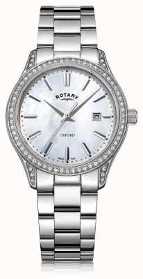 Rotary Dames oxford wit roestvrij staal quartz horloge LB05092/41