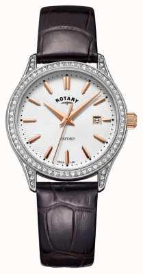 Rotary Dames oxford lederen band roestvrij staal quartz horloge LS05092/02
