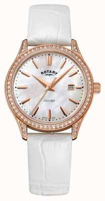 Rotary Dames oxford lederen band rose goud quartz horloge LS05096/41