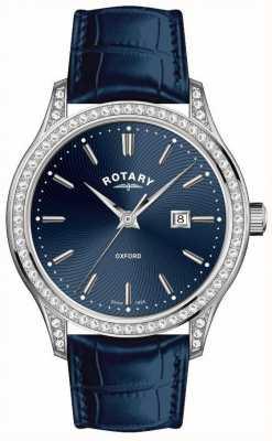 Rotary Dames oxford lederen band blauw quartz horloge LS05092/05