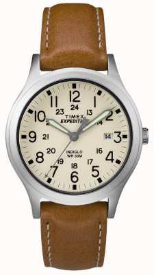 Timex Mens expeditie scout bruin lederen band natuurlijke wijzerplaat TW4B11000