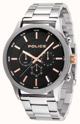 Police Mens tempo roestvrij stalen armband zwarte wijzerplaat 15002JS/02M