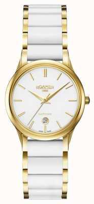 Roamer C-line white ceramic horloge gouden kast, dames 657844482560