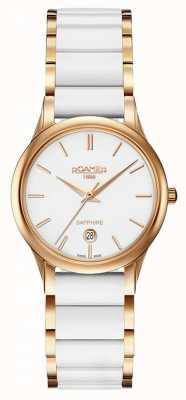 Roamer Dames c-line witte keramische horloge rosé gouden kast 657844492560