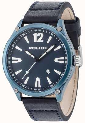 Police Blauw lederen herenhorloge in blauw leer 15244JBBL/03