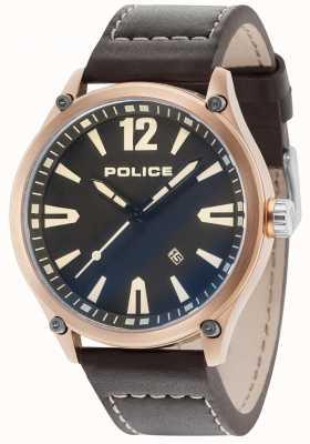 Police Heren denton rosé gouden kast zwarte wijzerplaat lederen band 15244JBR/02