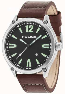 Police Heren denton zilveren kast zwarte wijzerplaat lederen band 15244JBS/02