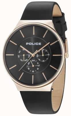 Police Seattle rosé gouden kast zwarte wijzerplaat lederen band 15044JSR/02