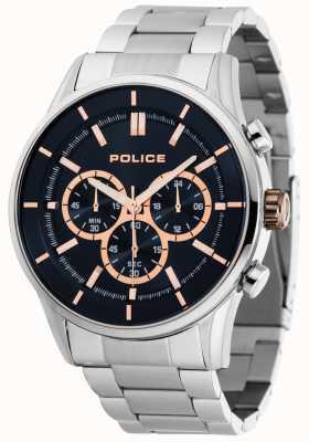 Police Spoed roestvrijstalen armband met donkerblauwe wijzerplaat 15001JS/03M
