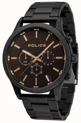 Police Tempo zwarte armband met zwarte wijzerplaat 15002JSB/02M
