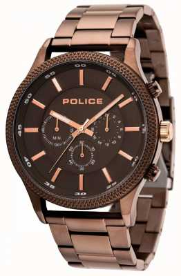 Police Tempo bruine armband met grijze wijzerplaat 15002JSBN/13M