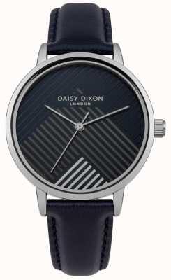 Daisy Dixon Blauwe riem met matte gestreepte wijzerplaat DD056US