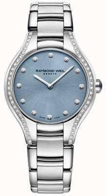 Raymond Weil Damessnoer diamant roestvrij staal armband blauwe wijzerplaat 5132-STS-50081