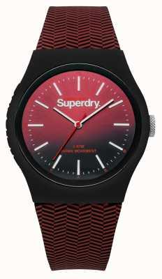 Superdry Rode tot zwarte gradiënt wijzerplaat met rode patroon SYG184RB