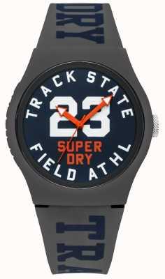 Superdry Track state print wijzerplaat blauwe wijde grijze riem SYG182UE