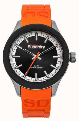 Superdry Scuba zwarte wijzerplaat oranje siliconen band SYG211O