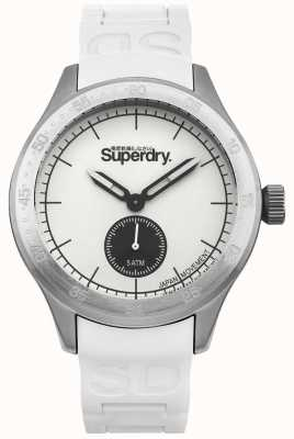 Superdry Witte wijzerplaat witte siliconen band in roestvrij staal SYG212W