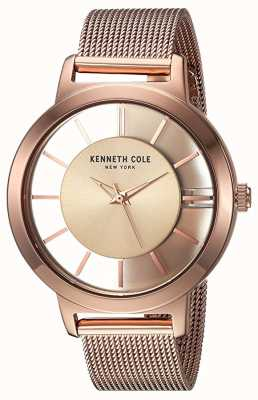Kenneth Cole Womens new york quartz rose goud roestvrij stalen gaas KC15172002