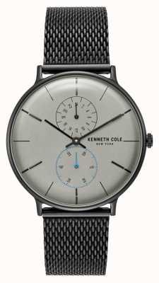 Kenneth Cole New York grijze wijzerplaat zwart gaas roestvrij stalen armband KC15188001