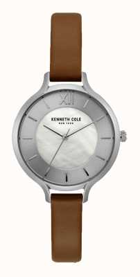 Kenneth Cole New York zilveren wijzerplaat donkerbruin lederen band KC15187005