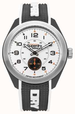 Superdry Navigator militaire zwarte siliconenrubberen hechting SYG214B