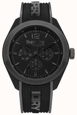 Superdry Navigator chic zwarte siliconen band grijze highlights SYG215EB