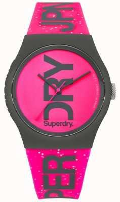 Superdry Urban glitter felroze damesband en wijzerplaat SYL189PP
