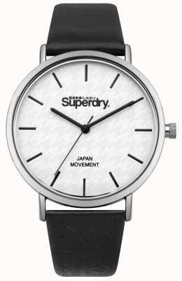 Superdry Zwarte leren riem met witte print SYL190B