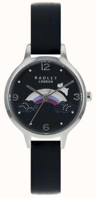 Radley Dames regenbooghoed zilveren kast zwart lederen band RY2556