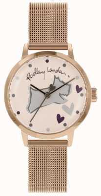 Radley Liefdesstrook in edelstaal rosé gouden kast met horlogegaas RY4324