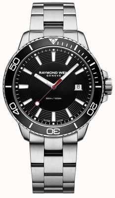 Raymond Weil Heren tango roestvrij stalen armband zwarte wijzerplaat 8260-ST1-20001