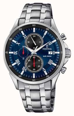 Festina Chronograaf datumweergave blauwe wijzerplaat roestvrij stalen armband F6853/2