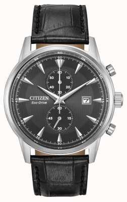 Citizen Heren corso chronograaf zwarte leren band zwarte wijzerplaat CA7000-04H