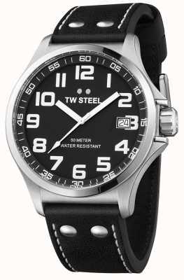 TW Steel Zwarte leren herenhorloge zwarte wijzerplaat TW408