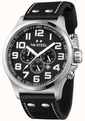 TW Steel Zwarte chronograaf zwarte wijzerplaat herenrijders chronograaf TW413