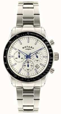 Rotary Heren chronograaf roestvrij stalen armband witte wijzerplaat GB00470/01