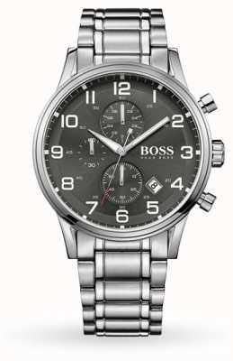 Hugo Boss Aeroliner datumaanduiding grijze wijzerplaat roestvrij stalen armband 1513181