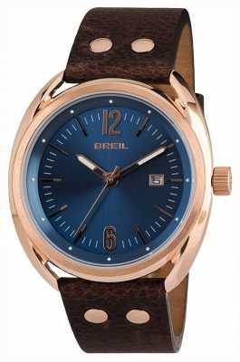 Breil Beaubourg roestvrijstalen ipr blauwe wijzerplaat bruine riem TW1673