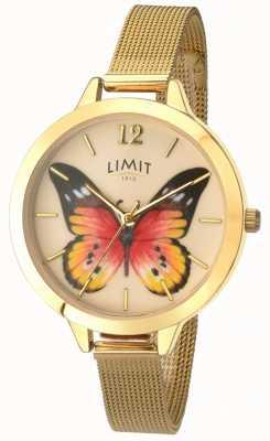 Limit Womens geheime tuin gouden mesh vlinder horloge 6276.73